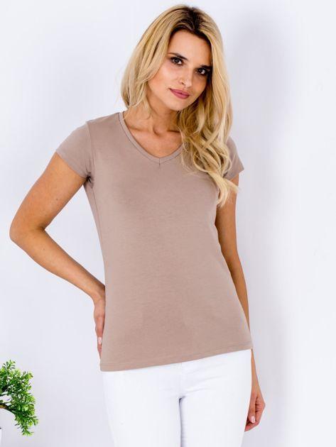 T-shirt damski beżowy V-neck                              zdj.                              1
