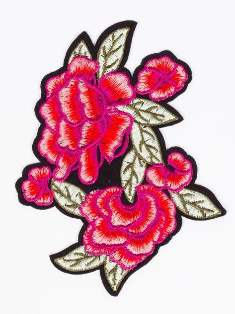 T-shirt damski brzoskwiniowy z naszywką                              zdj.                              2