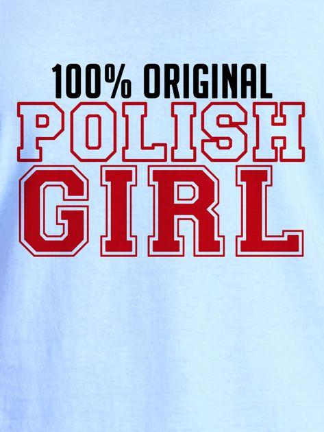 T-shirt damski patriotyczny 100% ORIGINAL POLISH GIRL niebieski                                  zdj.                                  2