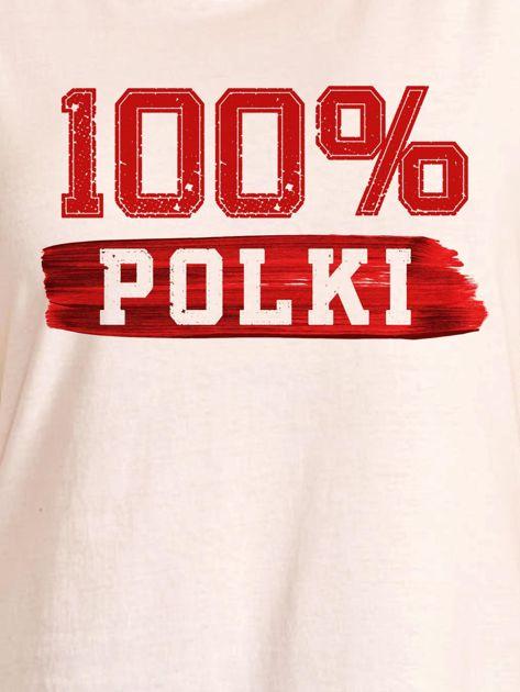 T-shirt damski patriotyczny 100% POLKI ecru                              zdj.                              2