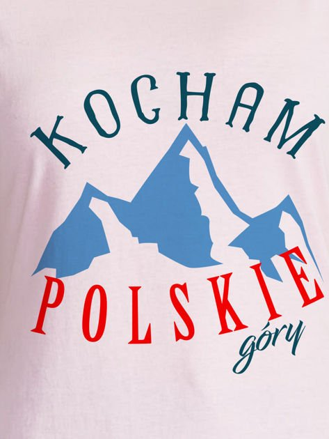 T-shirt damski patriotyczny KOCHAM POLSKIE GÓRY jasnoróżowy                                  zdj.                                  2