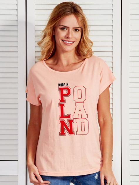 T-shirt damski patriotyczny MADE IN POLAND łososiowy                                  zdj.                                  1