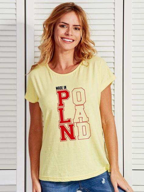 T-shirt damski patriotyczny MADE IN POLAND żółty                                  zdj.                                  1