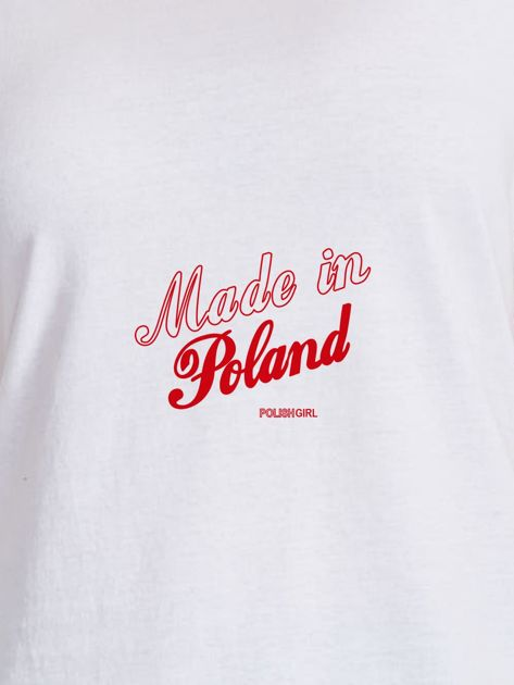 T-shirt damski patriotyczny z delikatnym nadrukiem biały                                  zdj.                                  2