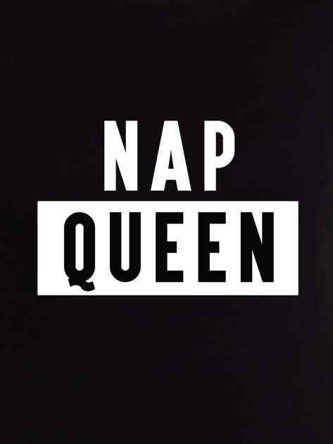 T-shirt damski z nadrukiem NAP QUEEN czarny                                  zdj.                                  2