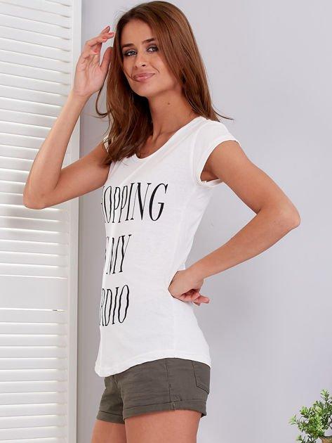 T-shirt ecru SHOPPING IS MY CARDIO                              zdj.                              5