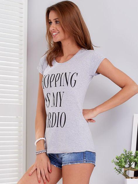 T-shirt jasnoszary SHOPPING IS MY CARDIO                              zdj.                              5