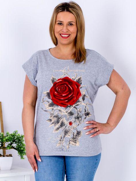 T-shirt jasnoszary z różą PLUS SIZE                              zdj.                              1