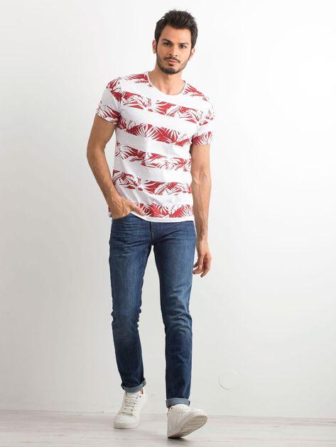 T-shirt męski z nadrukiem roślinnym biało-czerwony                              zdj.                              4