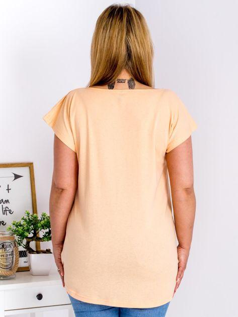 T-shirt pomarańczowy z nadrukiem boho PLUS SIZE                                  zdj.                                  2