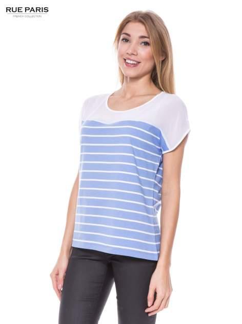 T-shirt w biało-niebieskie paski z karczkiem z szyfonu                                  zdj.                                  1
