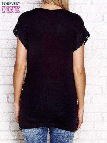 T-shirt z motywem pasków czarno-biały