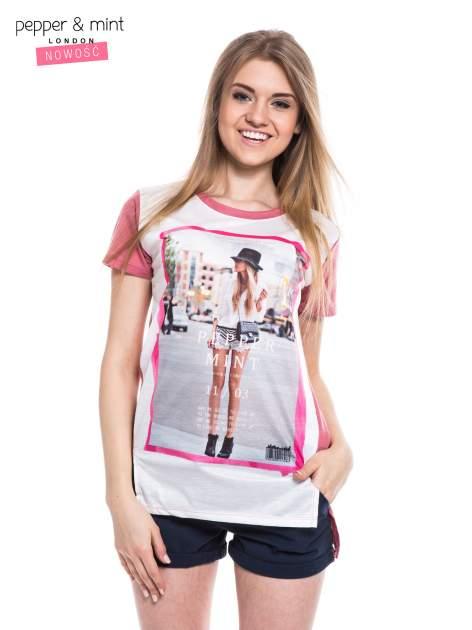T-shirt z nadrukiem modelki i dłuższym tyłem                                  zdj.                                  1