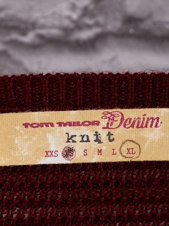 TOM TAILOR Bordowy prążkowany sweter                                  zdj.                                  4