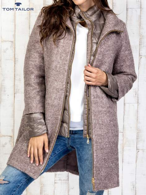 TOM TAILOR Brązowy dwuczęściowy płaszcz z kurtką pikowaną