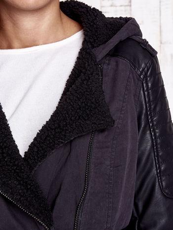 TOM TAILOR Czarna kurtka ze skórzanymi rękawami                                  zdj.                                  9