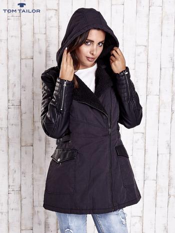 TOM TAILOR Czarna kurtka ze skórzanymi rękawami                                  zdj.                                  5