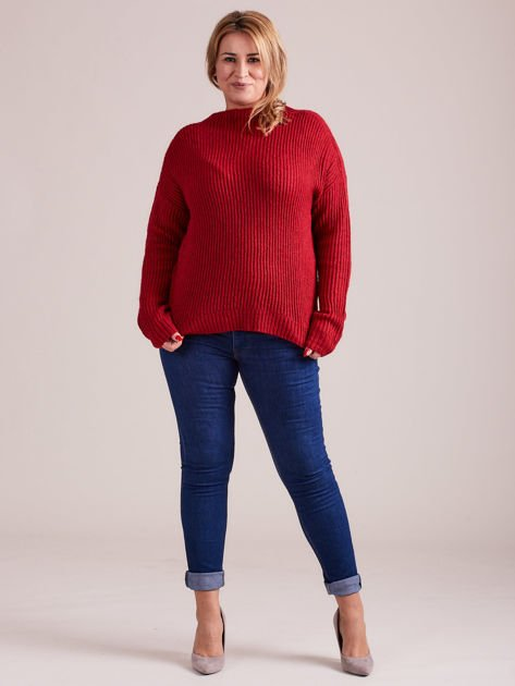 TOM TAILOR Czerwony wełniany sweter o grubszym splocie                                  zdj.                                  6