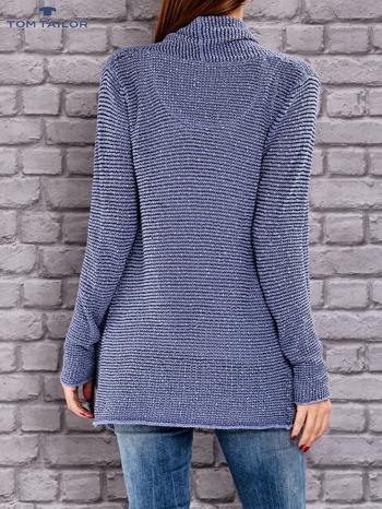 TOM TAILOR Niebieski otwarty sweter w drobne paski                                  zdj.                                  3