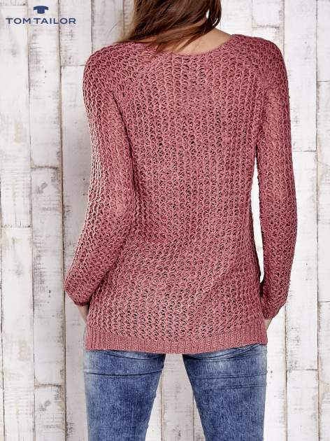 TOM TAILOR Różowy ażurowy sweter                                  zdj.                                  2