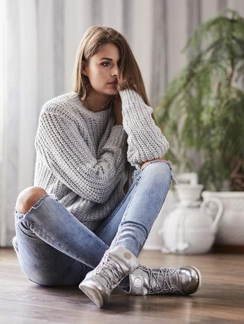 TOM TAILOR Szary wełniany sweter o grubym splocie                                  zdj.                                  10
