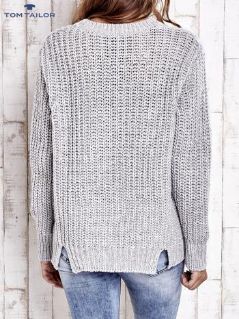 TOM TAILOR Szary wełniany sweter o grubym splocie                                  zdj.                                  3