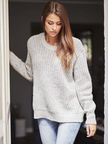TOM TAILOR Szary wełniany sweter o grubym splocie                                  zdj.                                  1