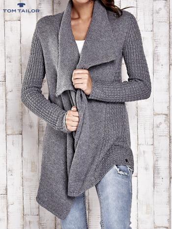 TOM TAILOR Szary wełniany sweter z kaskadowym kołnierzem                                  zdj.                                  5