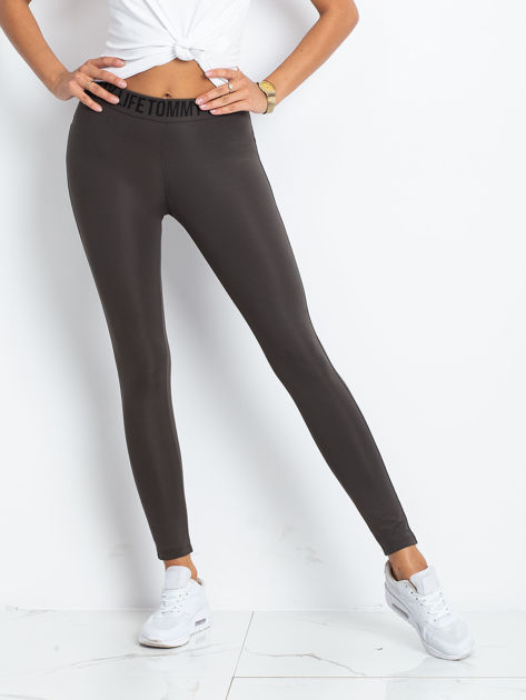 TOMMY LIFE Khaki-czarne legginsy