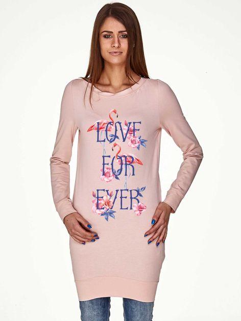 Tunika we flamingi z napisem LOVE FOR EVER jasnoróżowa