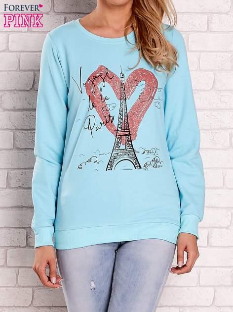 Turkusowa bluza z motywem paryskim