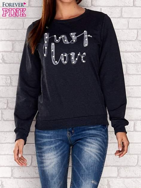 Turkusowa bluza z napisem JUST LOVE i perełkami                                  zdj.                                  2