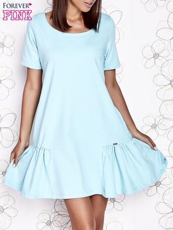 Turkusowa sukienka dresowa z falbanami z boku