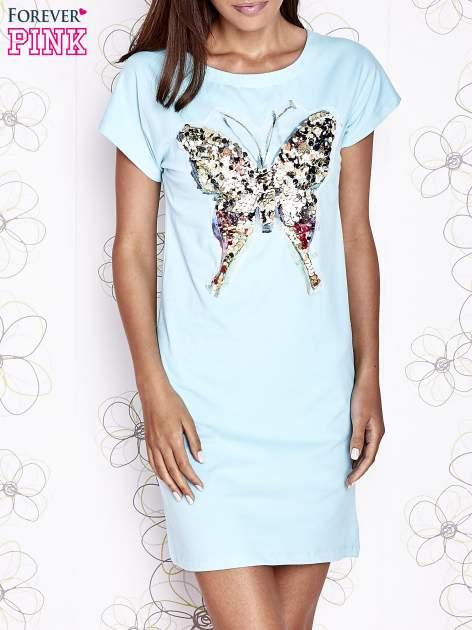 Turkusowa sukienka z cekinowym motylem                                  zdj.                                  1