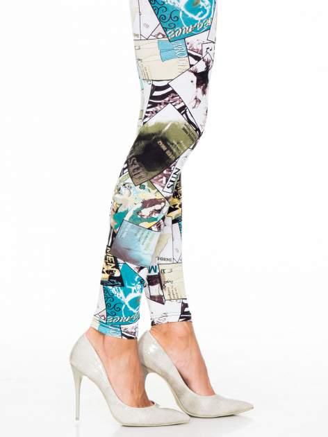 Turkusowe legginsy z nadrukiem magazines print                                  zdj.                                  5