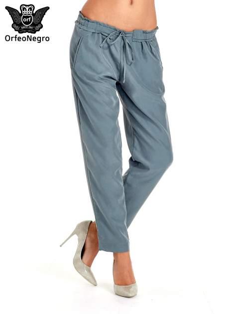 Turkusowe lejące spodnie wiązane w pasie