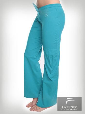 Turkusowe spodnie dresowe z szeroką nogawką FOR FITNESS