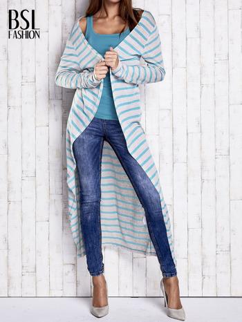 Turkusowy długi sweter w paski                                  zdj.                                  1