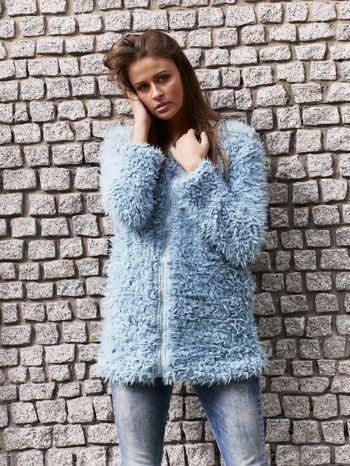 Turkusowy futrzany sweter kurtka na suwak                                  zdj.                                  1