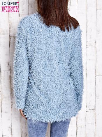 Turkusowy futrzany sweter kurtka na suwak                                  zdj.                                  6