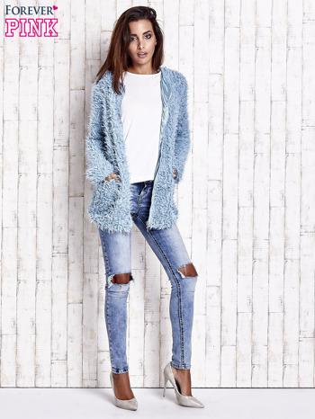 Turkusowy futrzany sweter kurtka na suwak                                  zdj.                                  9