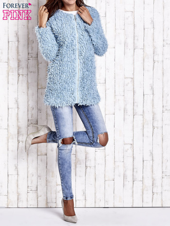 Turkusowy futrzany sweter kurtka na suwak                                  zdj.                                  10