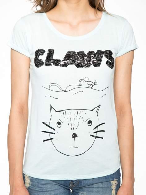 Turkusowy t-shirt z nadrukiem kota i myszy                                  zdj.                                  6