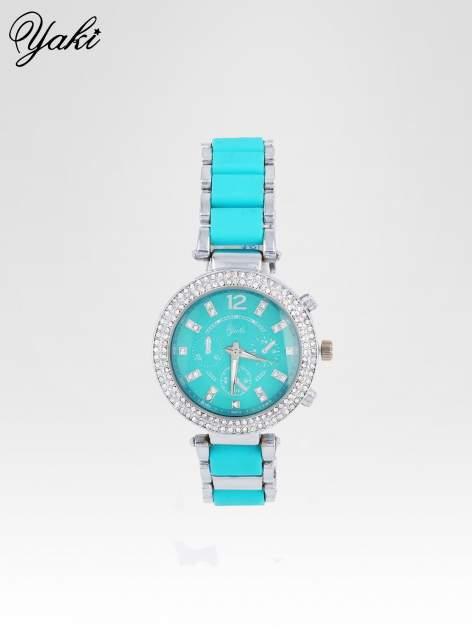 Turkusowy zegarek na bransolecie z cyrkoniami na tarczy