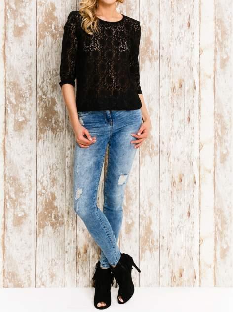VERO MODA Czarna bluzka z koronkowym przodem                                  zdj.                                  2