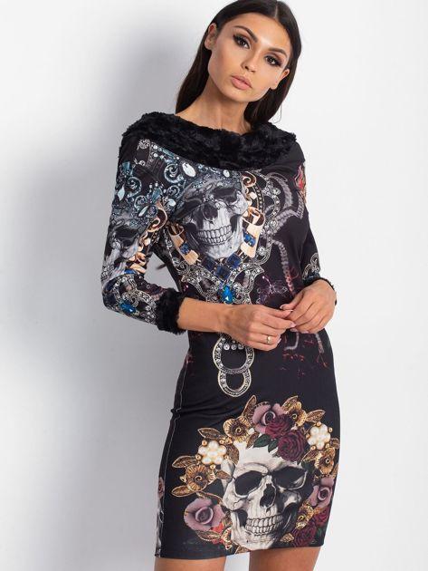 VIA DELLE ROSE Czarna sukienka koktajlowa z nadrukiem                              zdj.                              5
