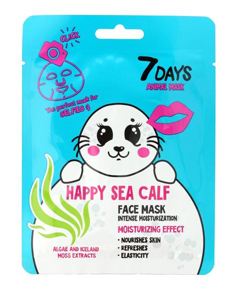 """VILENTA 7 Days Animal Maska na twarz w płacie intensywnie nawilżająca Happy Sea Calf 28g"""""""