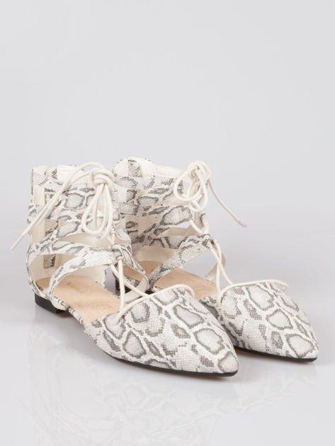 Wężowe baleriny faux suede Taylor lace up z wiązaniem                                  zdj.                                  1