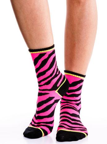 Wielokolorowe skarpetki damskie różowa zebra-czarny zestaw 2 pary                                  zdj.                                  2
