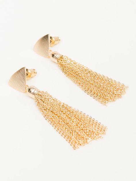 Wiszące złote długie kolczyki z trójkątami i złotymi łańcuszkami Zapięcie na sztyft Pokryte 18-to karatowym złotem